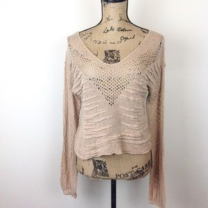 Free People Open Knit Top M @